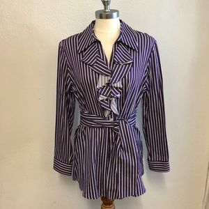 Jones New York Purple Striped Blouse, L